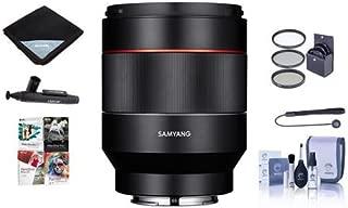 SAMYANG Auto Focus 50mm f/1.4-16 FE Lens for Sony E-Mount - Bundle with 67mm Filter Kit, Cleaning Kit, Lens Wrap, Lenspen Lens Cleaner, Capleash II, Pc Software Package