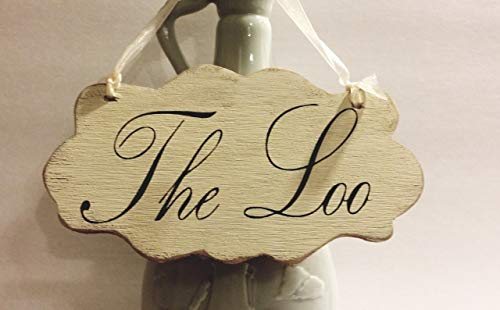 The Loo Small Shabby Cottage Wall Decoration Cream Wood French Sign