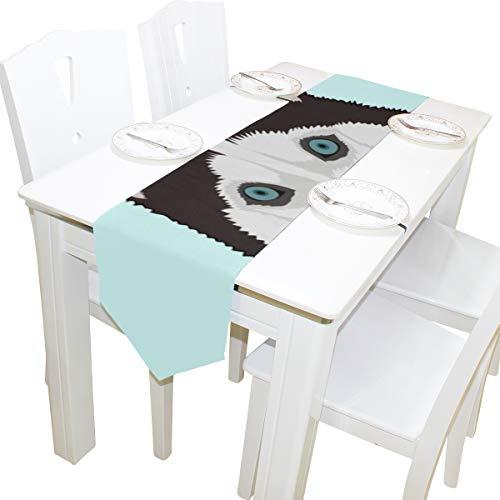 Yushg Wolf Scharfe Augen Wilde Kommode Schal Stoffbezug Tischläufer Tischdecke Tischset Küche Esszimmer Wohnzimmer Home Hochzeitsbankett Dekor Indoor 13x90 Zoll