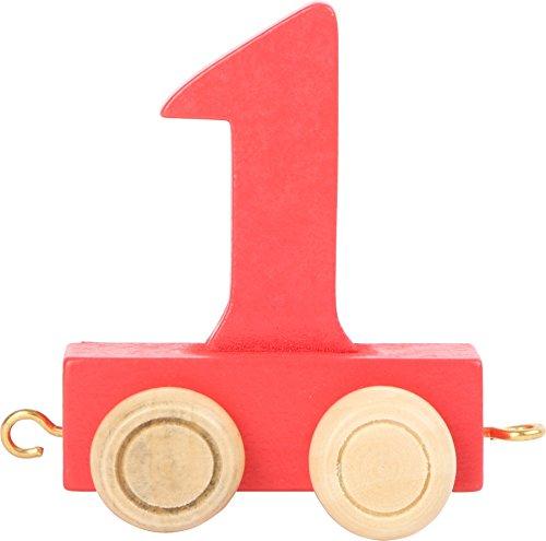 Buchstabenzug | Geburtstags Zahlen und Waggon mit Kerzenhalter | Holzeisenbahn | EbyReo® Namenszug aus Holz | personalisierbar | Geburtstag oder als Deko für den Geburtstagstisch (01 Zahl 1)