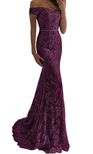 Prom Dress Mermaid Formal Evening Dresses Lace Evening Gowns Off The Shoulder Prom Dresses Long Grape