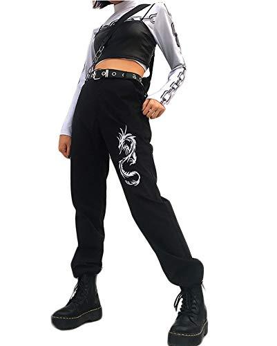 She Charm Damen Cargohose Street High Waist Drachen Stickerei Hip Hop Hosen Jogger Hosen Mit Taschen Kein Gürtel,Schwarz,M