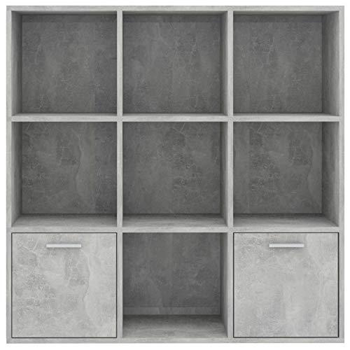 Tidyard Libreria Grigio Cemento 98x30x98 cm in Truciolato,con 7 Cubi Aperti e 2 Ante
