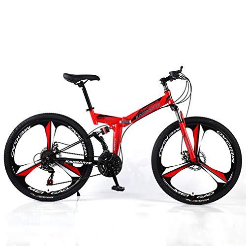 Ruedas de tres radios son adecuados para hombres y mujeres adultos en cinco colores, Bicicletas Tres velocidad de conversión de montaña, bicicletas plegables portátiles Off-Road,,Rojo,26 inch 24 speed