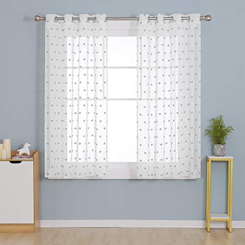 Deconovo Visillos Traslúsidos Salón Infantiles Cortinas Cortas para Ventana Dormitorio Moderno para Habitacion Tul Suave 140x180cm Gris