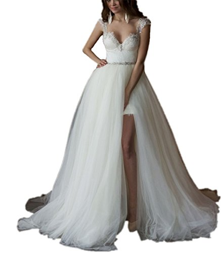 Tsbridal Detachable Train Wedding Dress Lace Wedding Dresses (8, White)