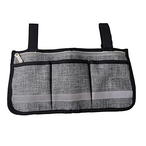 SZBLYY Bolsa Silla de Ruedas Bolsa de sillas de sillas de sillas de Ruedas de Doble Cara Walker Bag Rollator Organizer Pouch Multi-Pocket Bolsa Accesorios para sillas de Ruedas (Color : Gray)