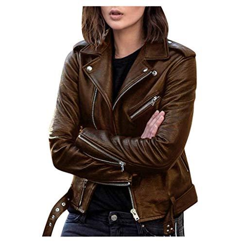 Onsoyours Damen PU Lederjacke Bikerjacke mit Reißverschluss Kurze Jacke Herbst Frühling Lederjacke im Bikerjacke B Braun L