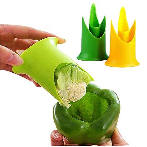 Eutuxia Pepper Corer. Twist Seed Bell, Core & Chili to Remove Easily with Ideal Kitchen Tool Accessory. Great Separator Gadget for Jalapeno, Peppers, Cucumber, Tomato & More. [2 Pcs]