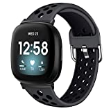 XIMU Sport Bands Compatible with Fitbit Versa 3 & Sense, Soft Silicone Waterproof Breathable Sport Watch Strap Replacement Wristband Accessories Women Man for Versa 3 Smart Watch