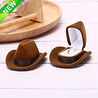1PCS Creative Design Cowboy Hat Shape Velvet Wedding Engagement Ring Box-Ring Box for Wedding Ceremony-Engagement Ring Box-Ring Box for Wedding-Gift Box for Jewelry-Gift Box Holder For Earrings