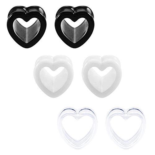 Mayhoop Piercing de Oreja Dilatadores Túnel Plugs acrílico 3 pares 8mm expansor en forma de corazon lóbulo de la oreja Mujer Hombre Joyería para Cuerpo