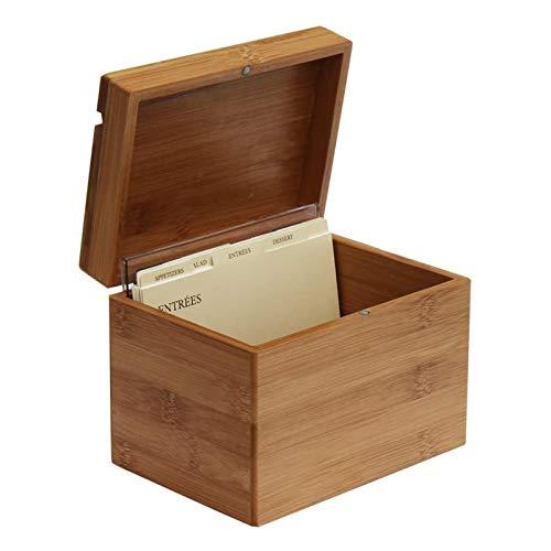 Erfula Bambus Rezeptbox mit Teiler Box mit Trennwand für die Küche Insel & Vorratslager: Umweltfre&lich original