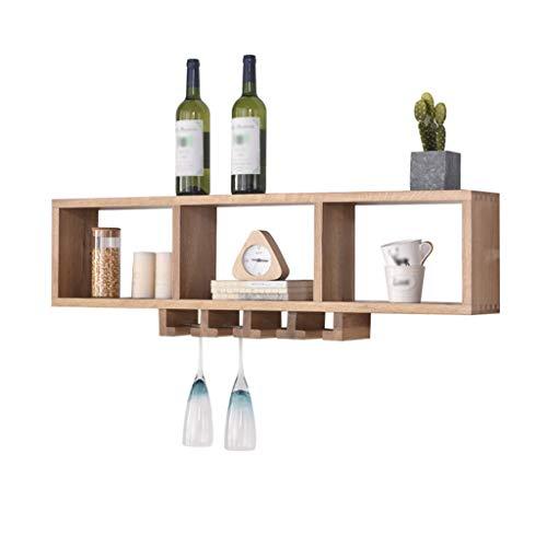 MJY Estantes de almacenamiento Estante de vino de madera maciza del norte...