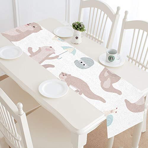 Centro de Mesa Runner Kawaii Smart Otter Animal Table Runner Party Farmhouse Coffee Table Runner 16x72 Pulgadas para cenas Fiestas Eventos decoración