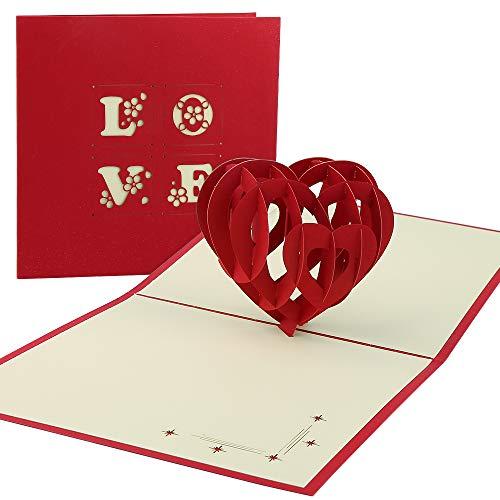 Vegena 3D Grußkarten Geburtstagskarte Hochzeitskarte Pop Up Karte Liebe, Valentinstag Muttertagskarte Hochzeitsgeschenk Glückwunschkarte Geschenkkarte Hochzeitstag für Frauen Freundin Hochzeit