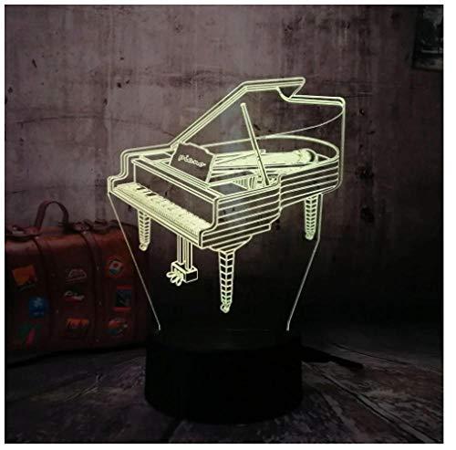 Luz nocturna para niños Luz nocturna 3D piano 7 colores cambian la luz nocturna para niños con Smart Touch Regalos perfectos para niños y decoración de habitaciones.