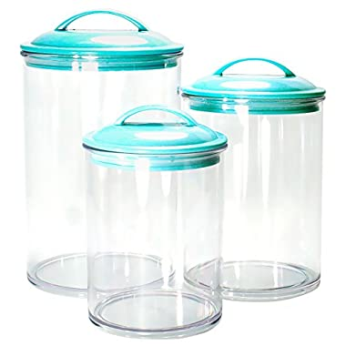 Calypso Basics by Reston Lloyd Acrylic Storage Canisters, Set of 3, Turquoise
