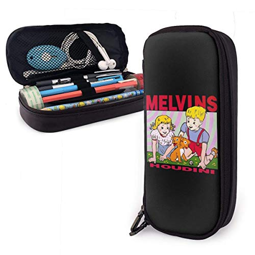 Melvins Leather Pencil Case Student Stationery Pouch Bag Office Storage Organizer Coin Pouch Cosmetic Bag