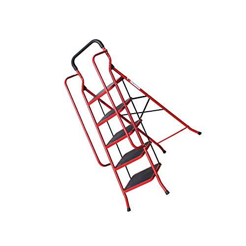 YuuHeeER Escalera de 5 escalones, plegable, antideslizante, ancho mate, color rojo, antideslizante, 1 unidad