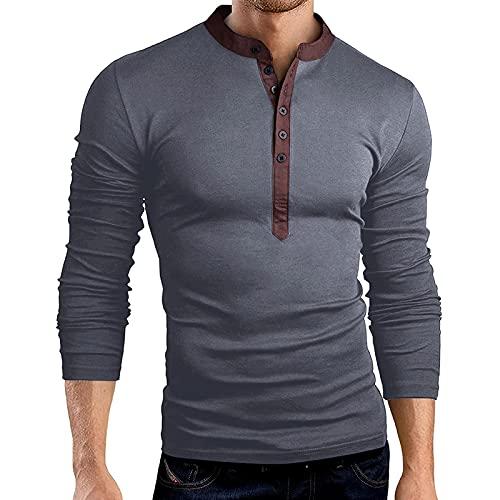 Binggong Camiseta de manga larga para hombre, cuello en V, botones, para el tiempo libre, básica, para negocios, fitness, monocolor, corte regular, manga larga, ropa deportiva de manga larga