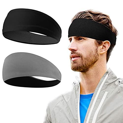 PPLAX Yoga Stirnband 2 stücke Stirnband Sport Fitness Stretch Sweat Frauen/Männer Schweißband Haarband Anti-Rutsch Kopfbedeckung Elastische Haarband Athletic Stirnband (Color : Grey Black)