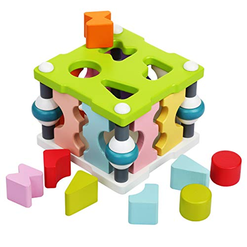 Smart Kid Wise Elk Wooden Toy Shape Sorter Square