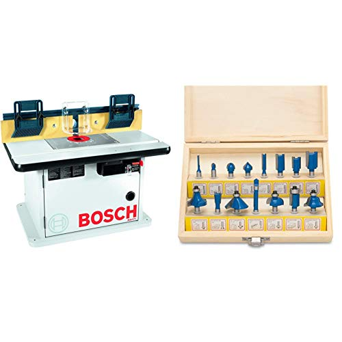 Bosch Cabinet Style Router Table RA1171 & Hiltex 10100 Tungsten Carbide Router Bits | 15-Piece Set