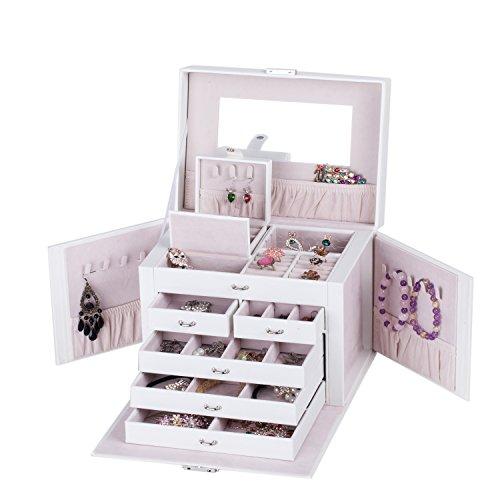ROWLING Schmuckkasten weiß Schmuckkästchen Schmuckkoffer mit Mini Box Schmuckschatulle Schatulle ZG145WT