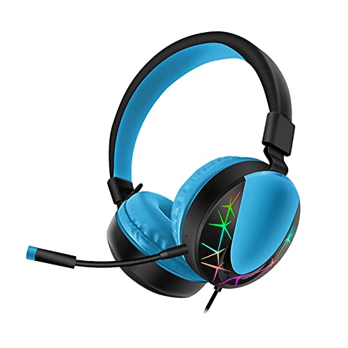 Ukallaite AKZ-021 Headset Wired RGB Luminous Gaming Headset for PC, Spatial Surround Headphones with Noise Cancelling Memory Foam Ear Pads- Black Blue