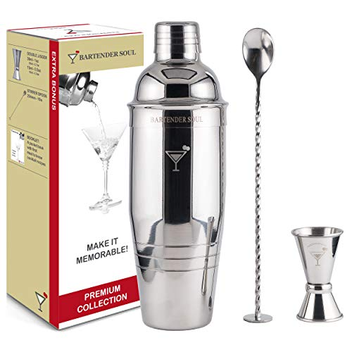 Premium Cocktail Shaker Set - Professional 26oz 1mm Thickness Tin with Built-In Strainer, 4 Levels Jigger, Stirring Spoon and Recipes - All 18/8 Quality Stainless Steel Heavy Duty Reliable Bar Tools