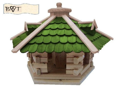 XXL Vogelhaus -Holz Nistkästen & Vogelhäuser- aus Holz SG50grMS mit Ständer Futterhaus GRÜN - 3
