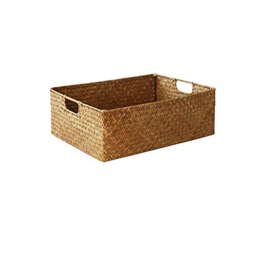 Rattan Ablagekorb Bambus Ablagekorb Tisch Ablagekorb geflochtener Korb groß, mittel und klein DREI Größen CQOQ (Size : 40×29×13cm)