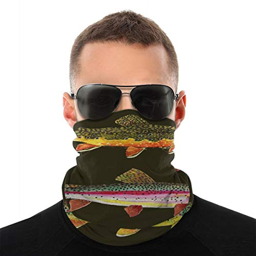 Fishing Three Trout Face Mask Bandanas, Multi-Functional Full-Coverage Tube Masks, Neck Gaiter, Half Balaclava, Magic Scarf, for Women Men Unisex