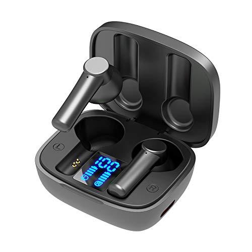 COLTD TWS - Auriculares inalámbricos Bluetooth 5.0 con sonido Hifi estéreo manos libres con funda de carga de 500 mAh y pantalla de batería LED para gimnasio, deporte, correr, ciclismo y conducción