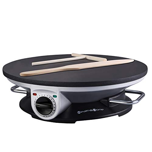 Health and Home No Edge Crepe Maker – 13 Inch Crepe Maker & Electric Griddle – Non-stick Pancake Maker- Crepe Pan