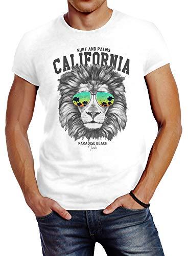 Neverless® Herren T-Shirt Löwe Bär Sonnenbrille Palmen Summer California Slim Fit Lion weiß M