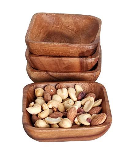 Cuenco de madera – porción pequeña, 100% madera de acacia natural, cuadrado, 1 pieza