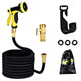 Garden Hose 100ft 30m HmiL-U Strongest Double Latex Inner Tube Prevent Leaking Magic Garden Hosepipe with 9Function Spray Gun+Solid Brass Fittings (Retracted Length 33ft)【2 YEAR 100%Guaranteed】(100ft)