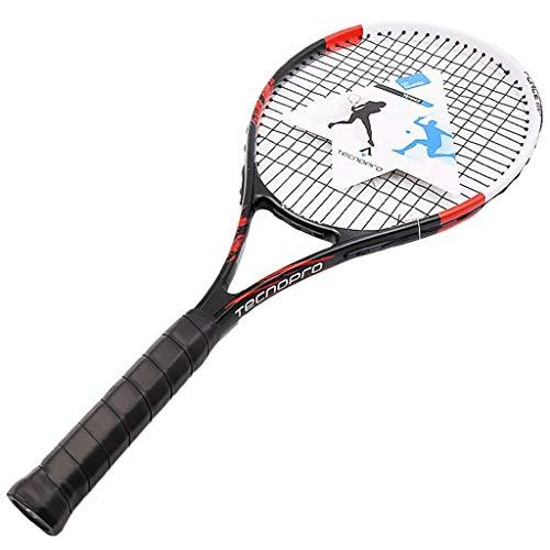 YFDD Única Raqueta de Tenis for Adultos Pre-Strung Cabeza Pesada Equilibrio Negro sin Cobertura aijia