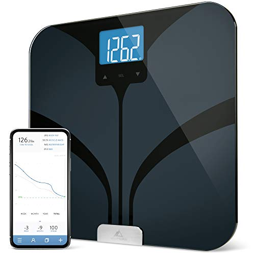 Greater Goods Bluetooth Connected Bathroom Smart Scale, Measures & Tracks BMI, Lean Mass, Water Weight, & Bone Mass, Extra-Large, Backlit LCD Screen, Auto-Calibration & Auto-Off