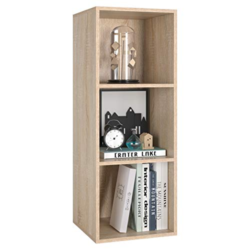 Homfa Estantería para Libros Estantería de Pared Librería con 3 Niveles para Salón Estudio Roble30x30x80cm