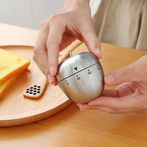 YUY Timer Mechanischer Edelstahl Ei Apfelförmiger Timer Metall-Rotationsalarm Für Küche Büro Schlafzimmer Wohnzimmer,B