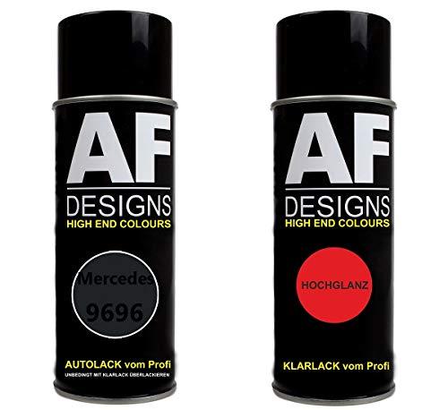Alex Flittner Designs Autolack Spraydose Set für Mercedes/Daimler Benz 9696 Nachtschwarz Basislack Klarlack Sprühdose 400ml