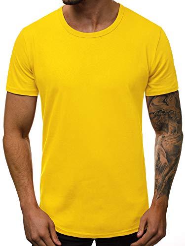 OZONEE Herren T-Shirt T Shirt Tshirt Kurzarm Kurzarmshirt Tee Top Sport Sportswear Rundhals U-Neck Rundhalsausschnitt Unifarbe Basic Einfarbig O/1208 GELB L