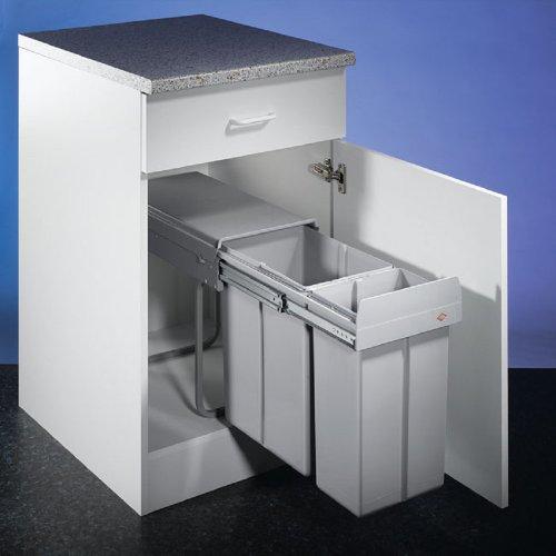 WESCO Bio Double Boy 30DT 20 + 10 liter aluminiumgrijs inbouw afvalemmer volledig uittrekbaar