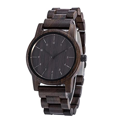 Natural Wood Watch for Men Vintage Mens Wooden Watch Gifts for Male Black