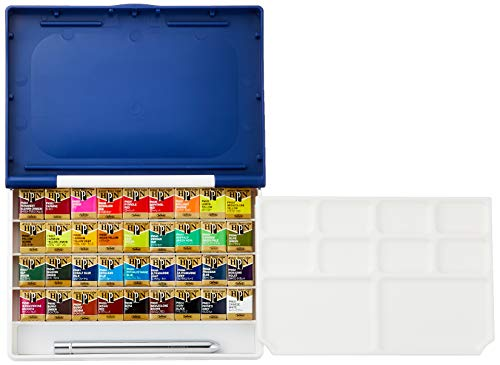 Holbein Artist's Watercolors Set of 36 Half-Pans with Brush (Palm Box Plus) PN698