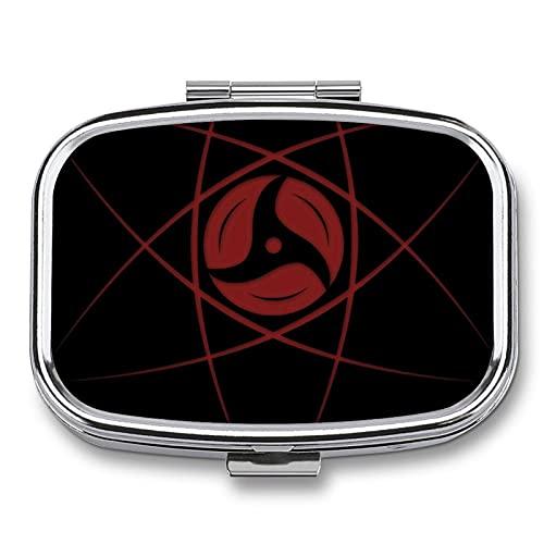 Naruto Uchiha Sharingan - Pastillero pequeño, portátil, para viajes, multicompartimiento con espejo, dispensador semanal de medicina de contenedor de vitaminas.