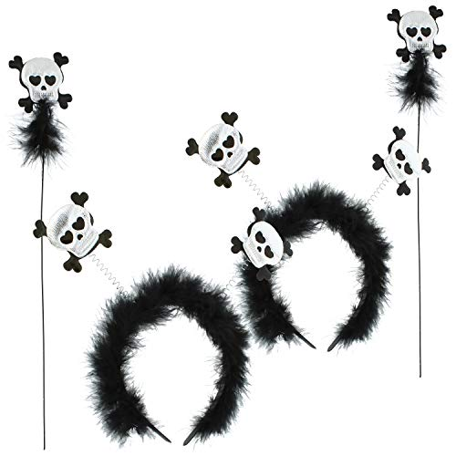 com-four 2x Diademas para Halloween - Diadema con diseo de calavera para nios - Disfraz para Halloween y Carnaval - Accesorios para Halloween (02 piezas - calavera)